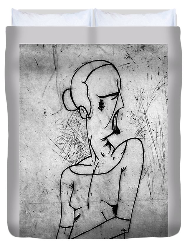 Misc Duvet Cover featuring the relief Screamer by Thomas Valentine