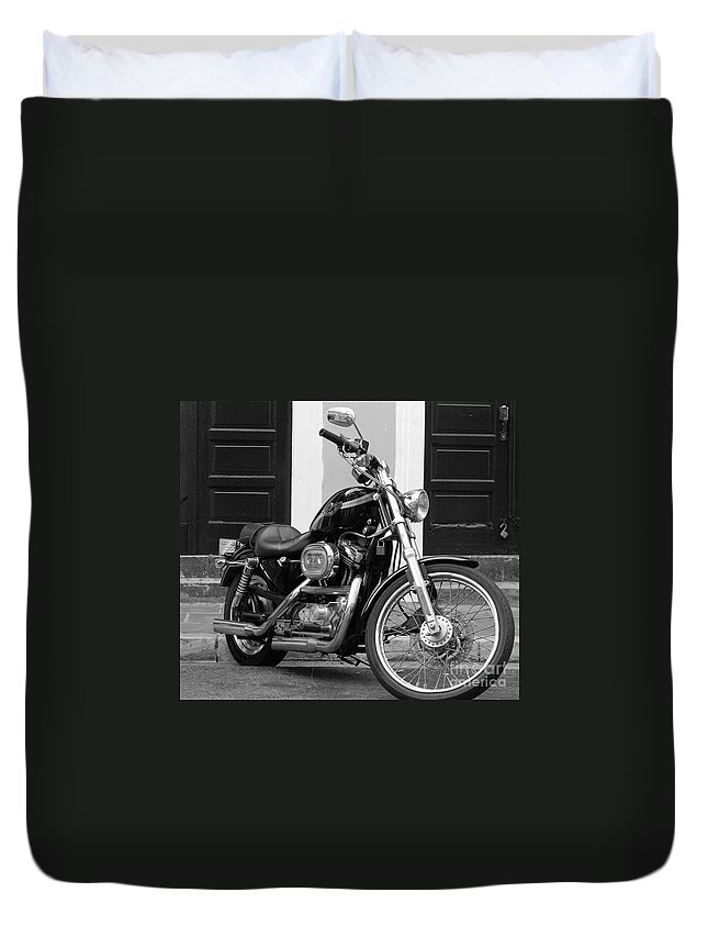 Motorcycle Duvet Cover featuring the photograph Screamin Eagle by Debbi Granruth