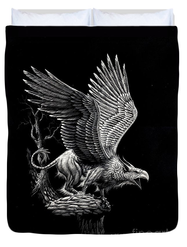 Griffon Duvet Cover featuring the drawing Screaming Griffon by Stanley Morrison