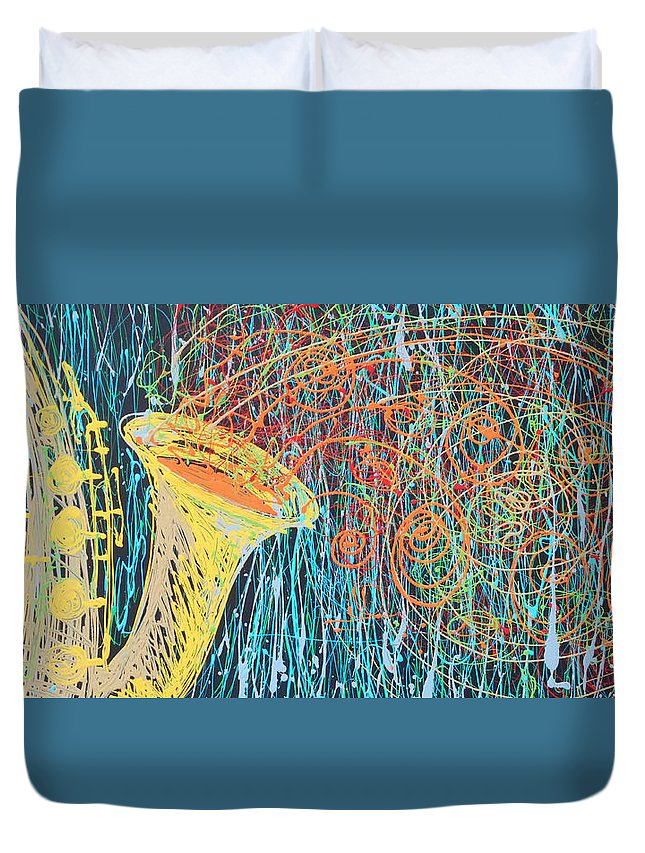 Sax Duvet Cover featuring the painting Screaming Sax by Rhodes Rumsey