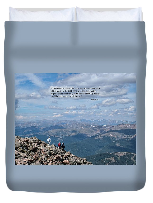 Scriptures Duvet Cover featuring the photograph Scripture And Picture Micah 4 1 by Ken Smith
