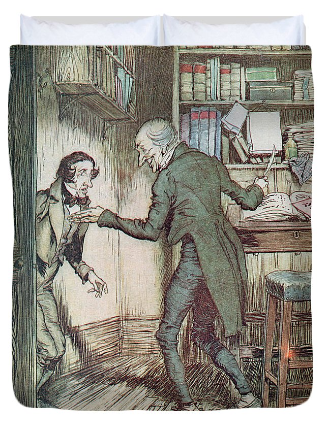 Arthur Rackham Duvet Cover featuring the drawing Scrooge And Bob Cratchit by Arthur Rackham