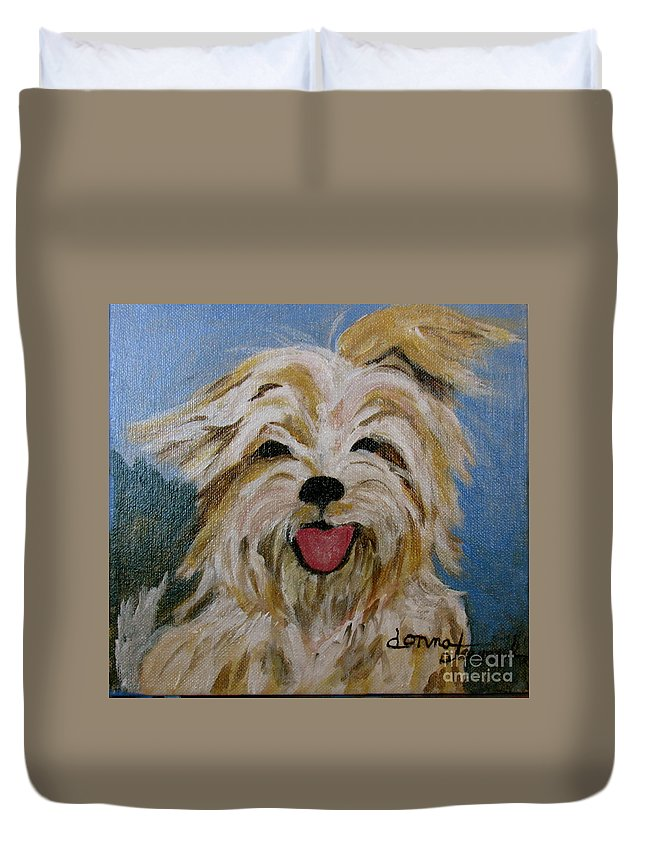 Puppy Duvet Cover featuring the painting Scruffy by Donna Steward