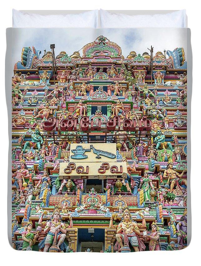 Arulmigu Duvet Cover featuring the photograph sculptures on Arulmigu Kapaleeswarar Temple, Chennai, Tamil Nadu by Henning Marquardt