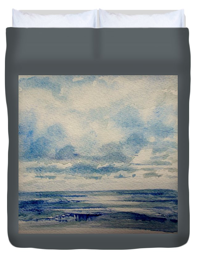 Sea Duvet Cover featuring the painting Sea And Sky by Nicole Curreri