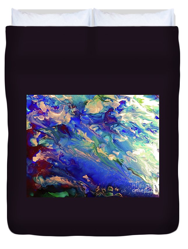 Sea Duvet Cover featuring the painting Sea Avalanche 5 by Eunice Warfel