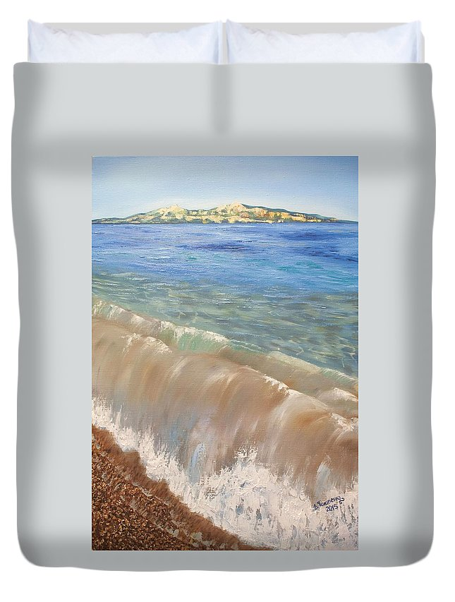 Beach Duvet Cover featuring the painting Sea Breeze by Valentyna Pylypenko