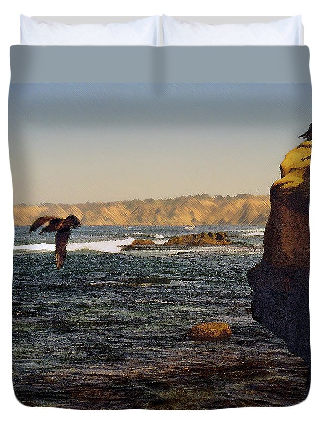 Ocean Duvet Cover featuring the digital art Sea Cliff by Steve Karol