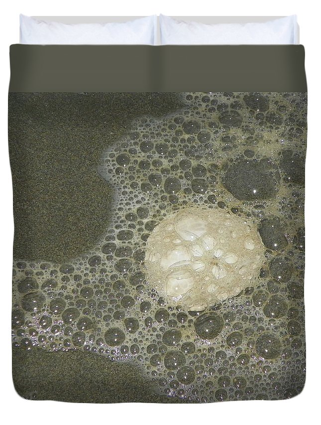 Photography Duvet Cover featuring the photograph Sea Foam Over Sand Dollars by Laurie Kidd