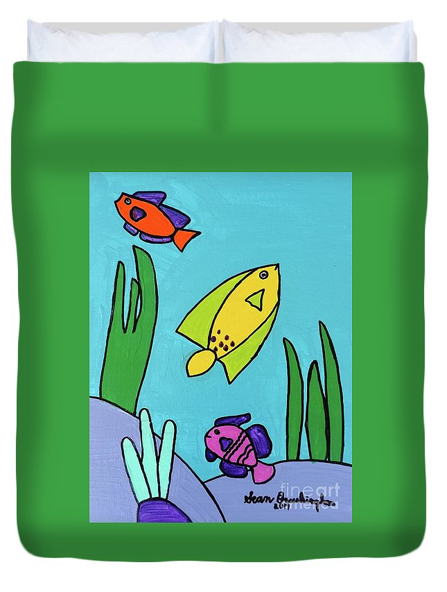 Fish Duvet Cover featuring the painting Sea Frolic by Sean Brushingham