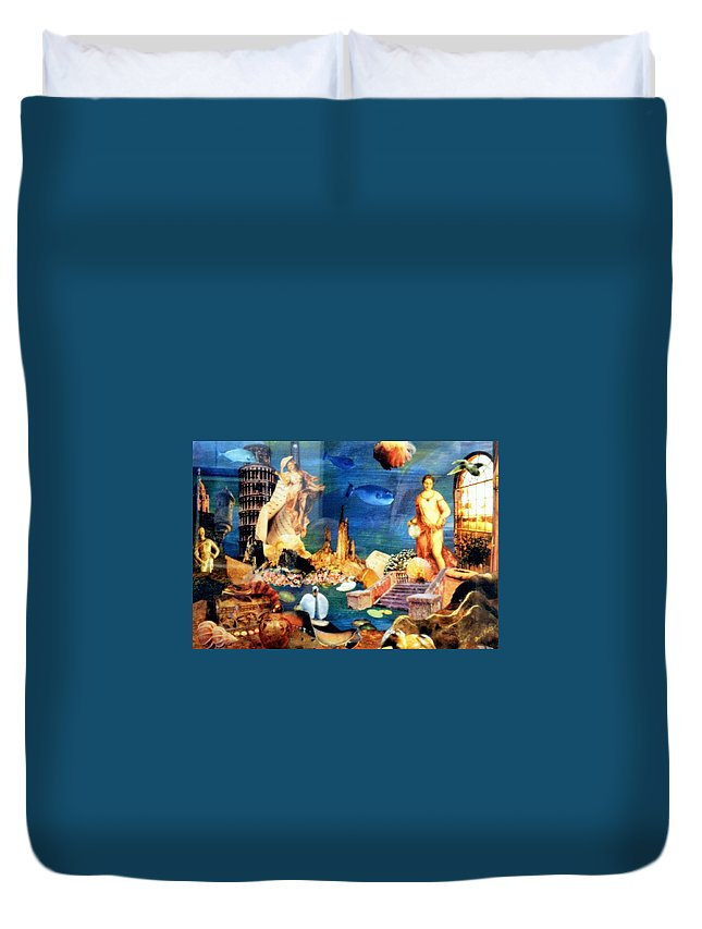 Fantasy Duvet Cover featuring the painting Sea Garden by Gail Kirtz