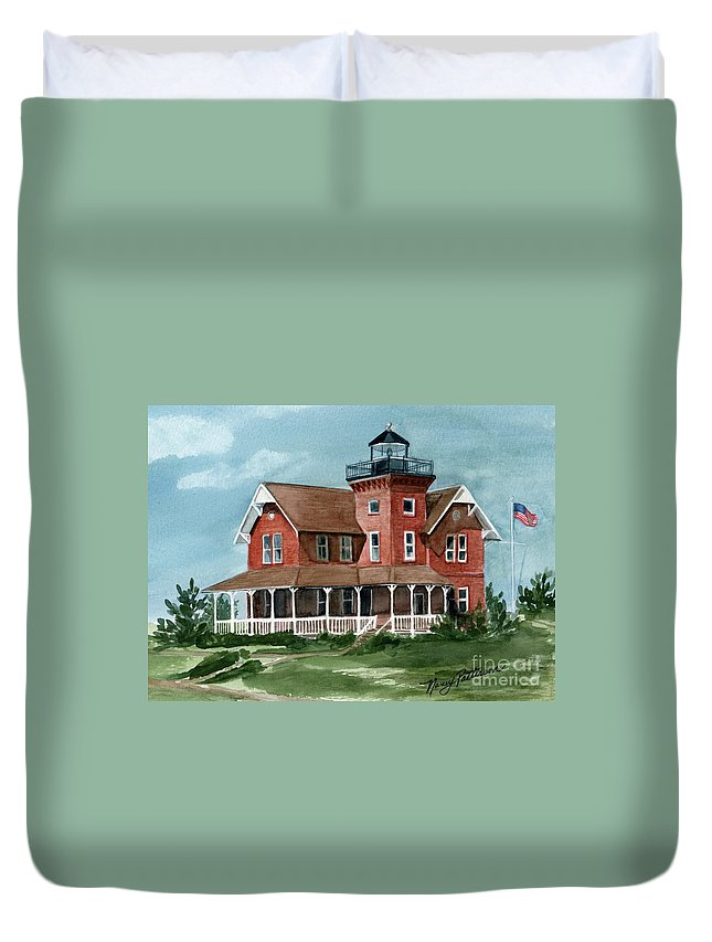 Watercolor Duvet Cover featuring the painting Sea Girt Lighthouse by Nancy Patterson