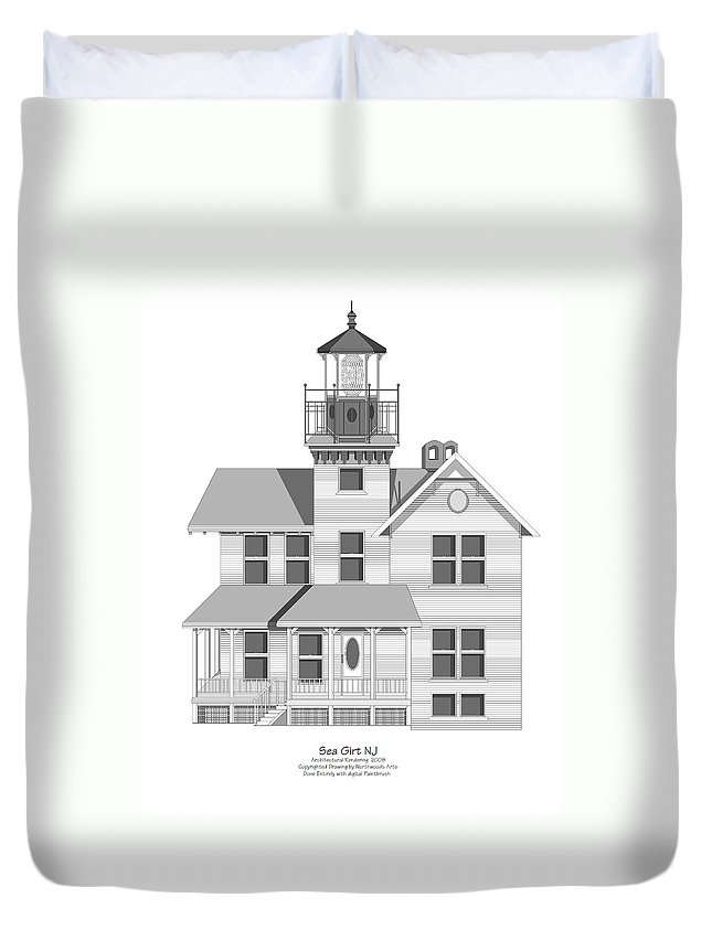 Lighthouse Duvet Cover featuring the painting Sea Girt New Jersey Architectural Drawing by Anne Norskog