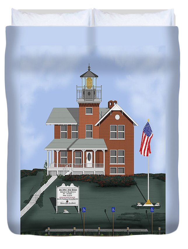 Lighthouse Duvet Cover featuring the painting Sea Girt New Jersey by Anne Norskog