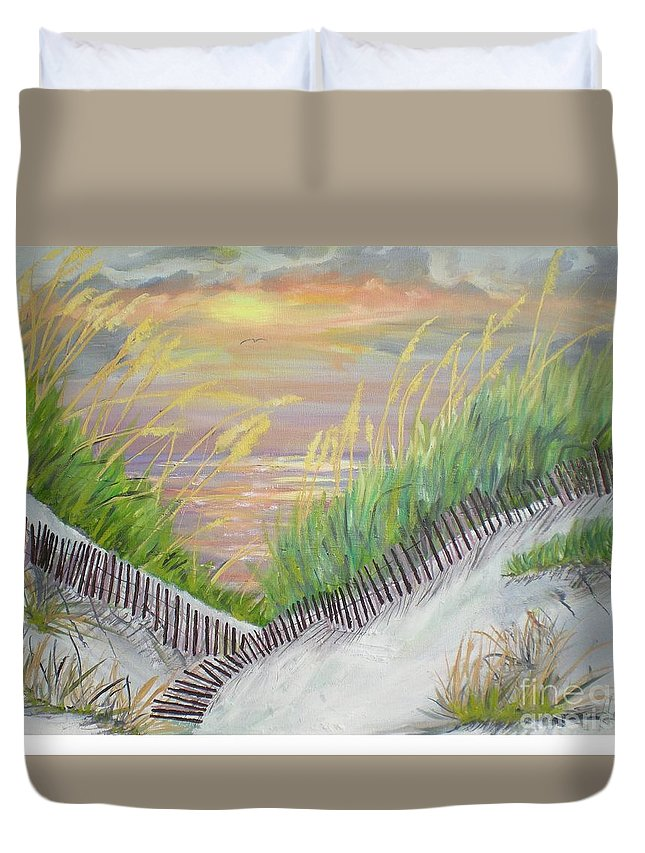 Seascape Duvet Cover featuring the painting Sea Oats by Hal Newhouser