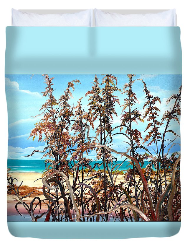 Ocean Painting Sea Oats Painting Beach Painting Seascape Painting Beach Painting Florida Painting Greeting Card Painting Duvet Cover featuring the painting Sea Oats by Karin Dawn Kelshall- Best