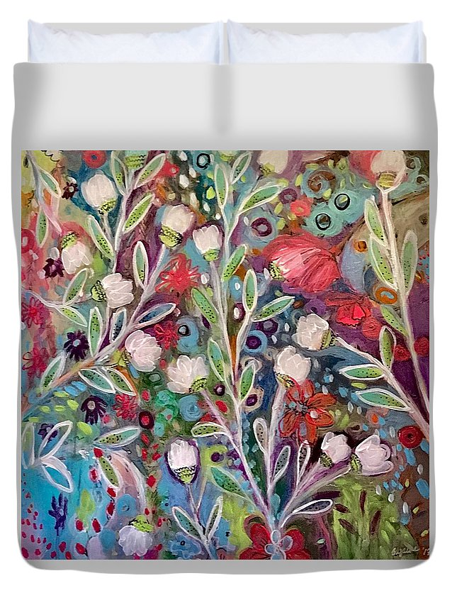 Nature Duvet Cover featuring the painting Sea Of Grace by Suzaine Smith