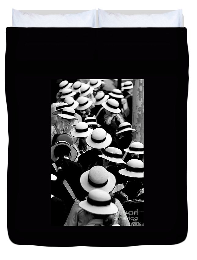 Hats Schoolgirls Duvet Cover featuring the photograph Sea Of Hats by Sheila Smart Fine Art Photography