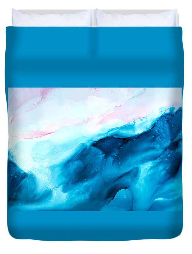 Abstract Duvet Cover featuring the painting Sea of Love - A by Sandy Sandy