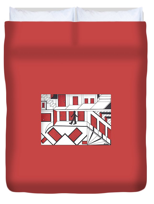 Doors Stairs People Duvet Cover featuring the drawing Red Doors by Johnny Huff
