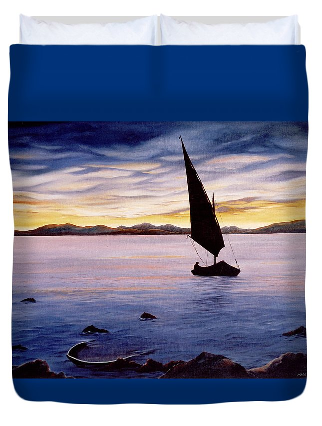 Seascape Duvet Cover featuring the painting Sea Of Souls by Mark Cawood