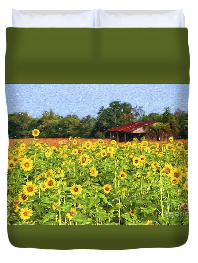 Sunflowers Duvet Cover featuring the photograph Sea Of Sunflowers by Bonnie Barry