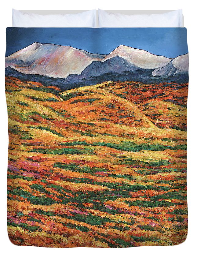 Autumn Aspen Duvet Cover featuring the painting Sea of Tranquility by Johnathan Harris