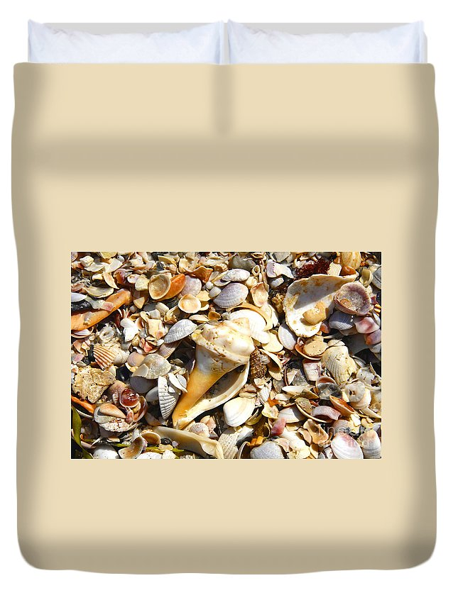 Florida Duvet Cover featuring the photograph Sea Shells by David Lee Thompson