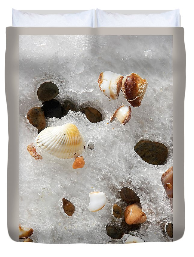 Sea Shells Duvet Cover featuring the photograph Sea Shells Rocks And Ice by Matt Suess