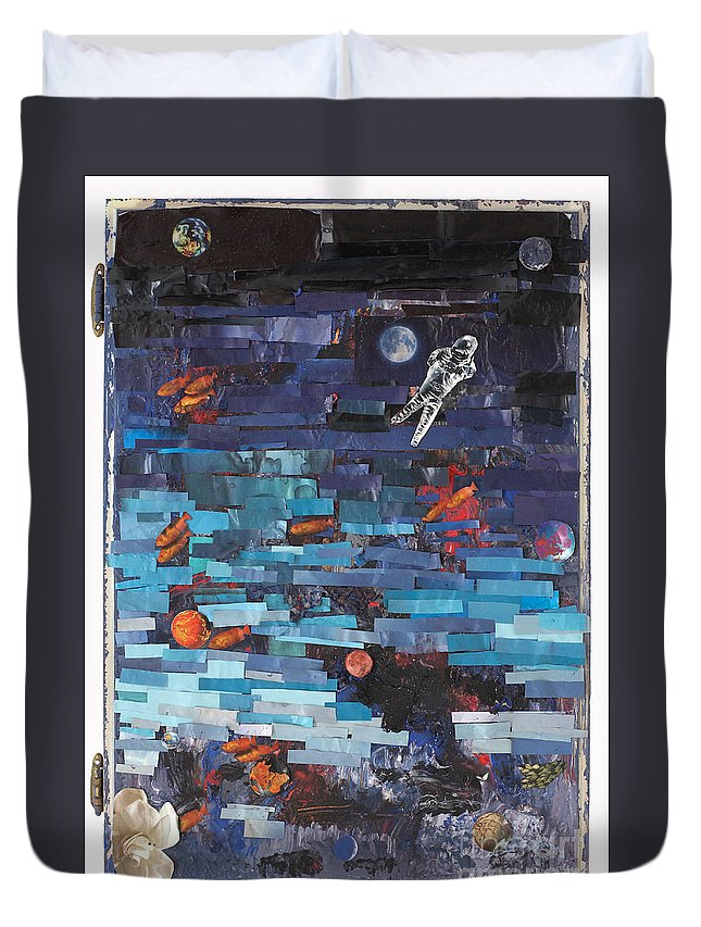 Astronaut Duvet Cover featuring the mixed media Sea Space by Jaime Becker