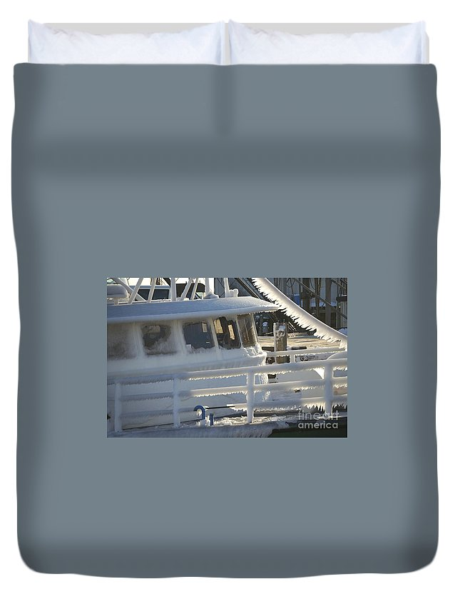 Fishing Duvet Cover featuring the photograph Sea Spray Ice by Faith Harron Boudreau