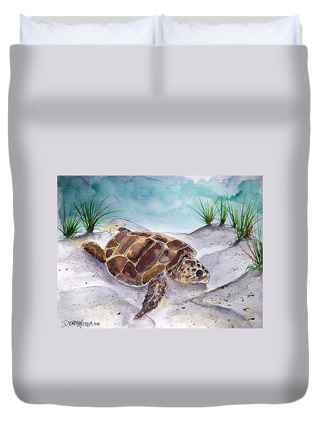 Sea Turtle Duvet Cover featuring the painting Sea Turtle 2 by Derek Mccrea
