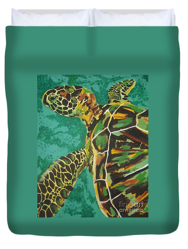 Turtle Duvet Cover featuring the painting Sea Turtle by Caroline Davis