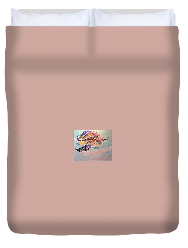 Turtle Duvet Cover featuring the painting Sea Turtle by Luke Glasscock