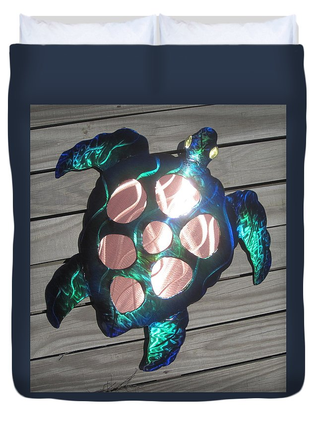 Sea Turtle Metal Wall Art Duvet Cover for Sale by Robert Blackwell