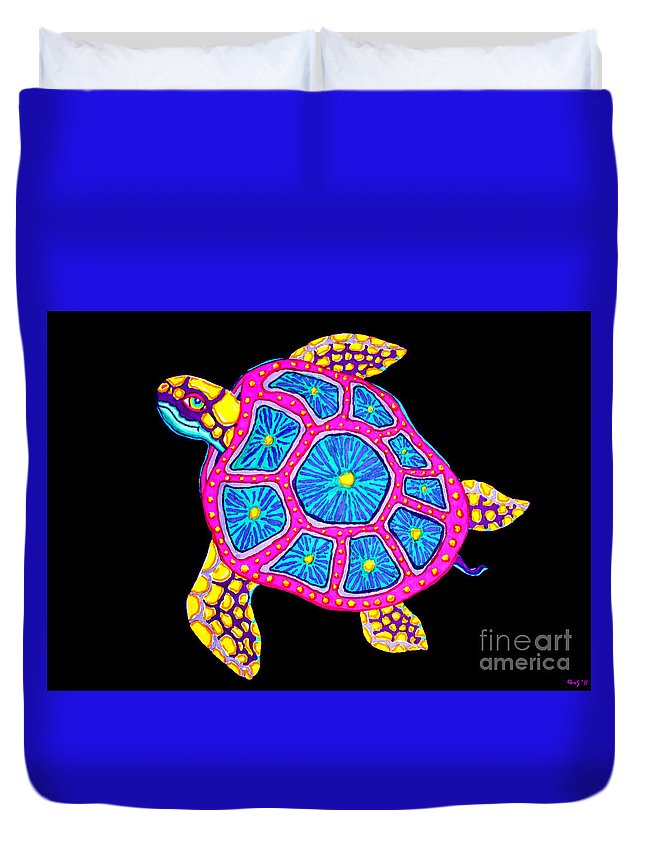 Colorful Art Duvet Cover featuring the digital art Sea Turtle by Nick Gustafson