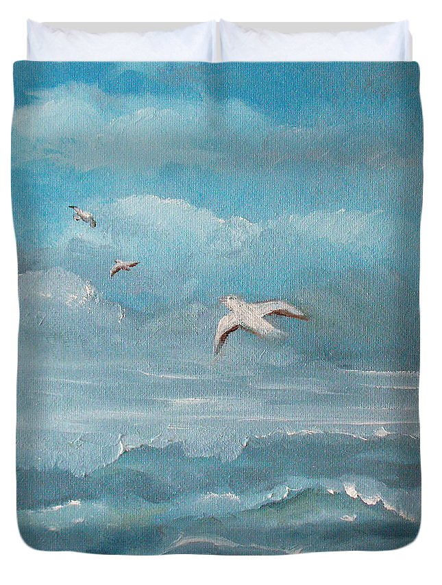Seascape Duvet Cover featuring the painting Seabirds by Catherine Sprague