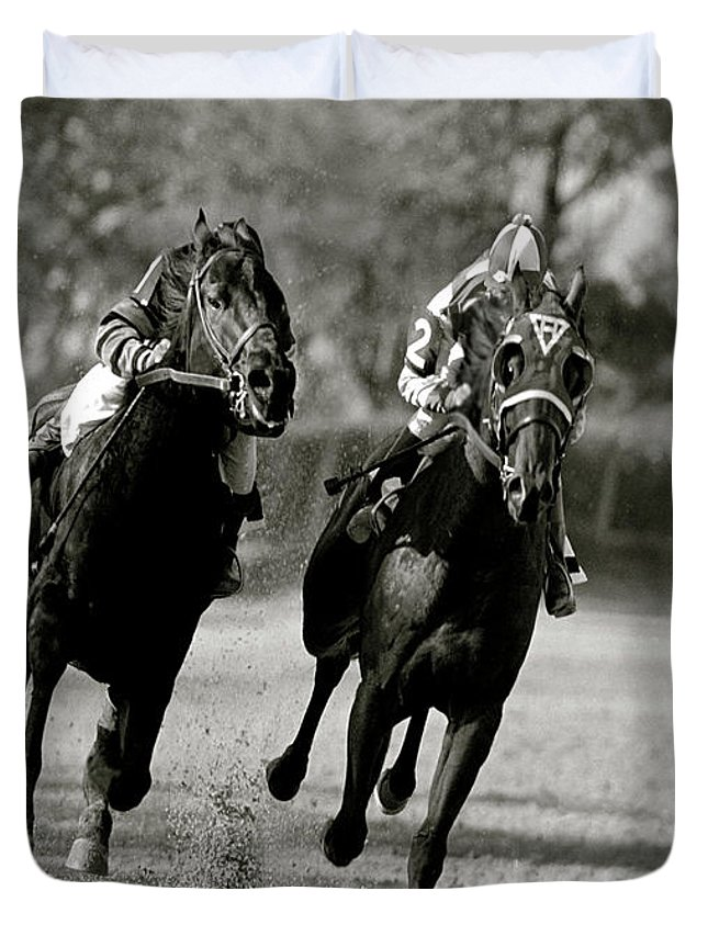 Seabiscuit Duvet Cover featuring the mixed media Seabiscuit Vs War Admiral, Match Of The Century, Pimlico, 1938 by Thomas Pollart