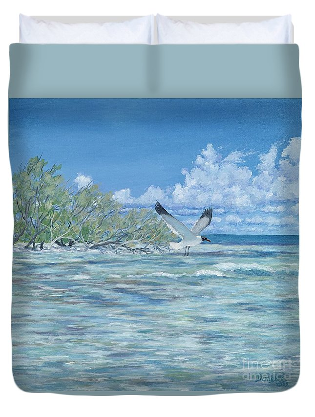 Seascape Duvet Cover featuring the painting Seablue by Danielle Perry