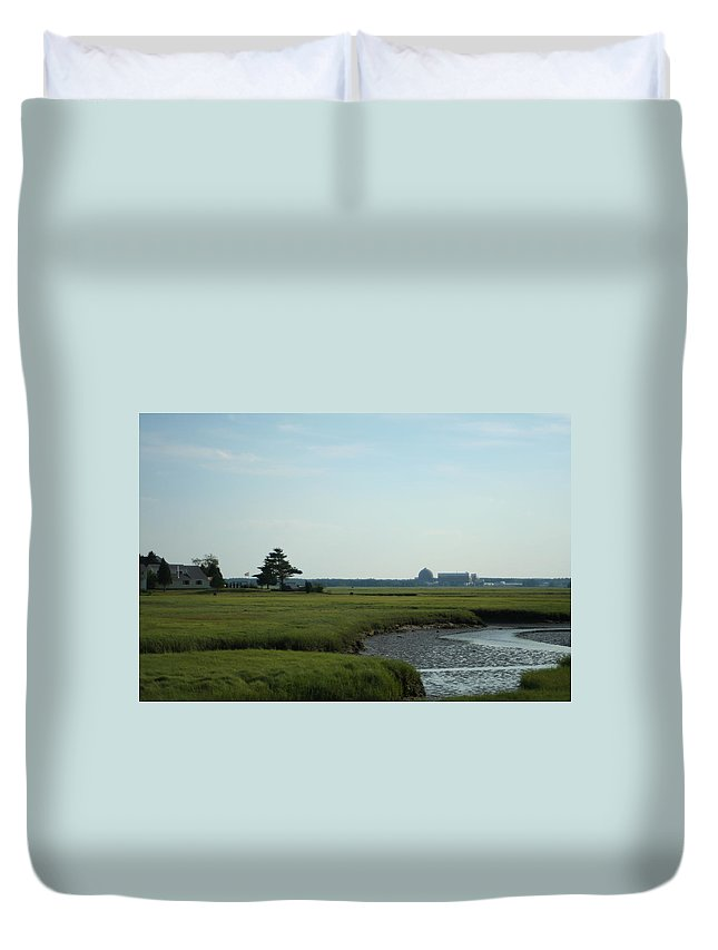 Photography Duvet Cover featuring the photograph Seabrook Beach Nh by Barbara S Nickerson