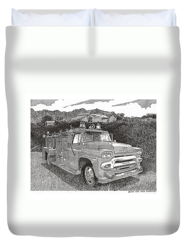 Images Of Seagrave Gmc Firetrucks. Automotive Prints Duvet Cover featuring the drawing Seagrave Gmc Firetruck by Jack Pumphrey