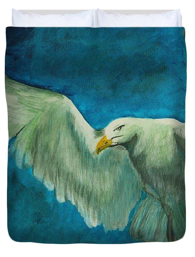 Bird Duvet Cover featuring the painting Seagull by David Bigelow