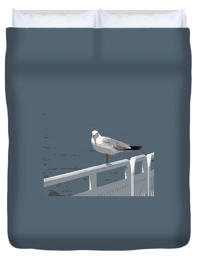 Seagull Duvet Cover featuring the photograph Seagull On The Rail by Michelle Calkins