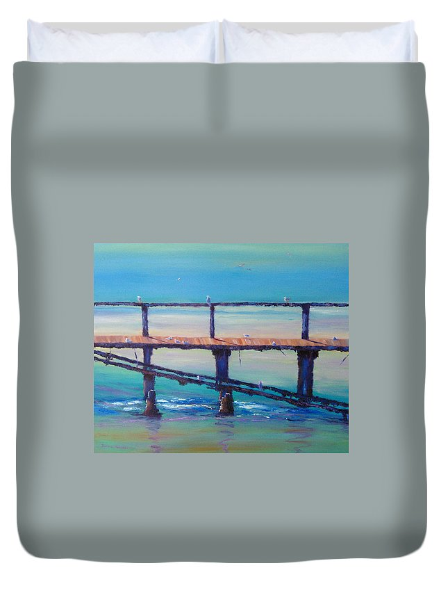 Seagulls Duvet Cover featuring the painting Seagull Paradise At Merimbula Australia by Diane Quee