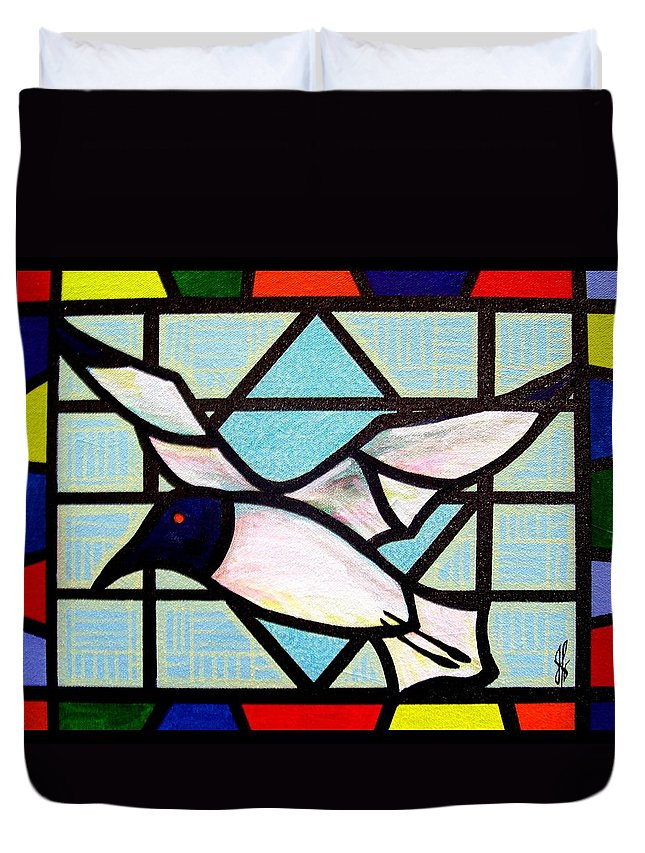 Seagull Duvet Cover featuring the painting Seagull Serenade by Jim Harris