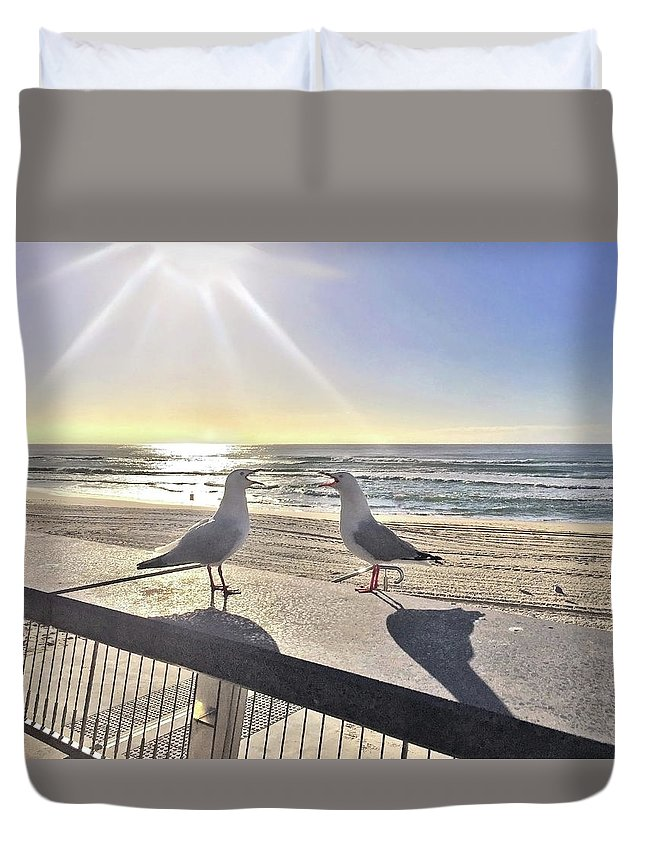 Two Seagulls Duvet Cover featuring the photograph Seagull Sonnet by Az Jackson