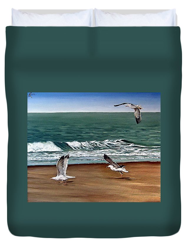 Seascape Duvet Cover featuring the painting Seagulls 2 by Natalia Tejera