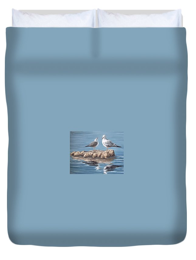 Seagulls Sea Seascape Water Bird Duvet Cover featuring the painting Seagulls In The Sea by Natalia Tejera
