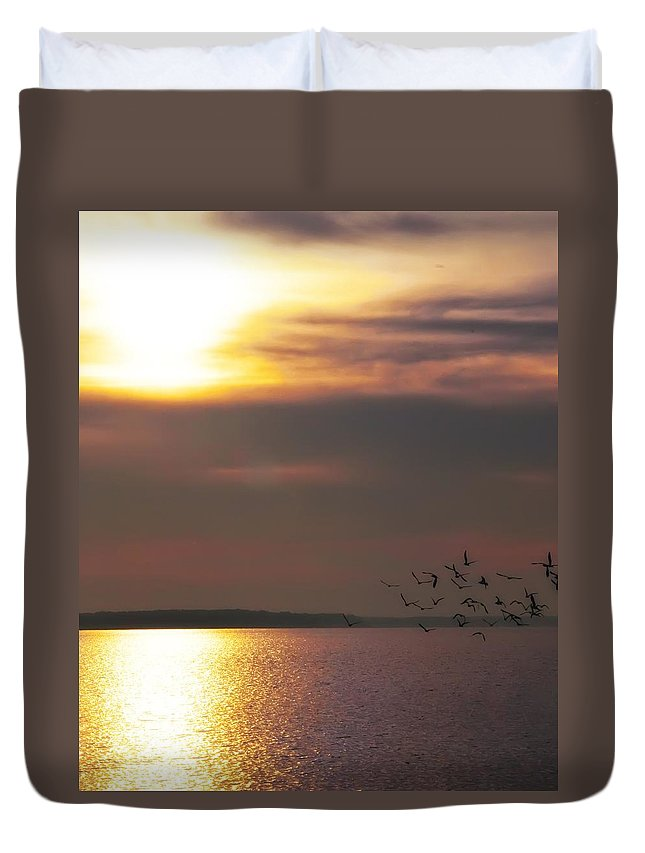 Seagulls Duvet Cover featuring the photograph Seagulls On The Chesapeake by Bill Cannon