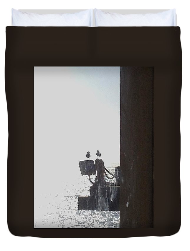 Seagulls Duvet Cover featuring the photograph Seagulls On The Pier by Catherine Herold